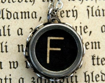 Vintage Typewriter Key Necklace- F