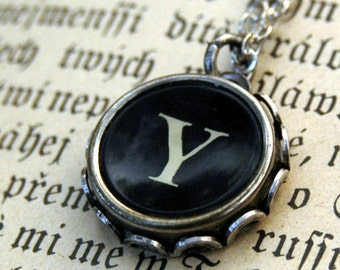 Vintage Typewriter Key Necklace- Y