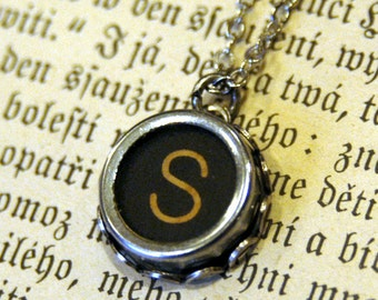 Vintage Typewriter Key Necklace- S
