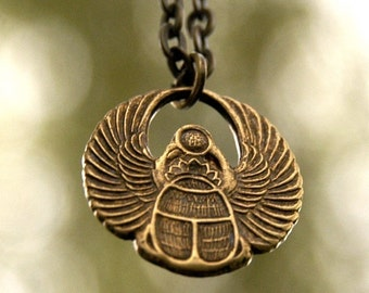 Egyptian Scarab Necklace- Brass