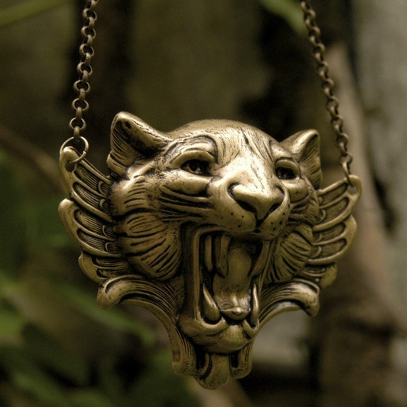 Winged Tiger Necklace In Brass OX