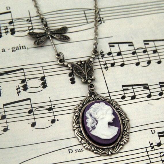 Purple Victorian Lady Cameo Necklace
