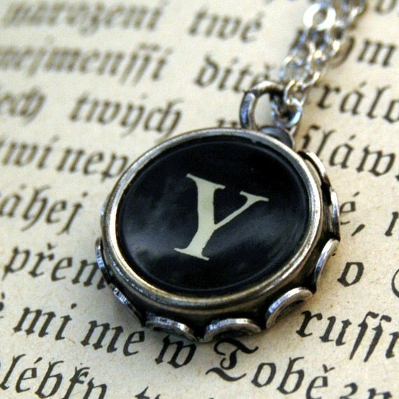 Vintage Typewriter Key Necklace- Y