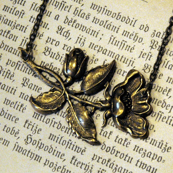 Victorian Rose Necklace in Brass