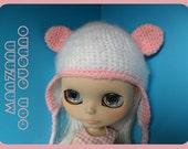 Pink Fuzzy Panda Bear Crochet Hat for Blythe