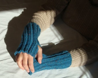 teal blue wool fingerless texting gloves arm and wrist warmers