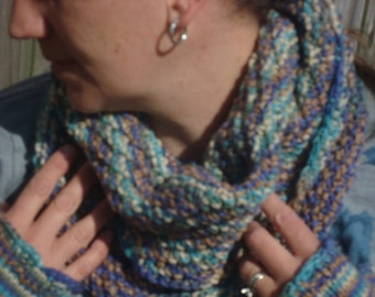 mulicolored fingerless gloves (arm and wrist warmers) and cowl set Hand knitted