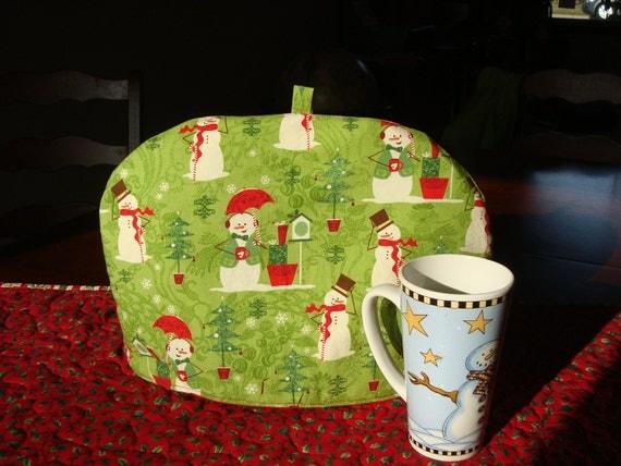 large Christmas snowmen teapot cozy