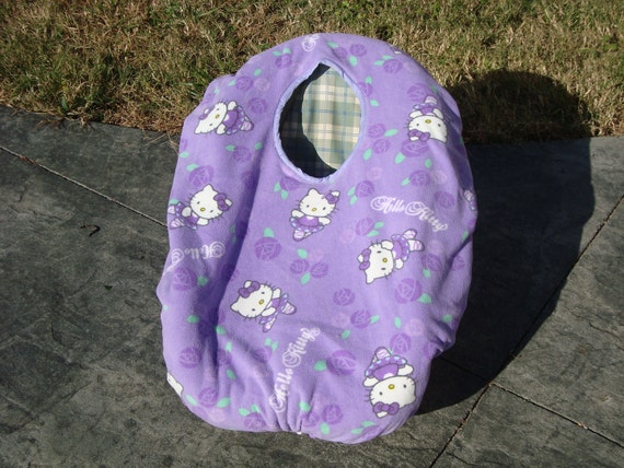 fleece reversible baby car seat cover purple with hello kitty. Black Bedroom Furniture Sets. Home Design Ideas
