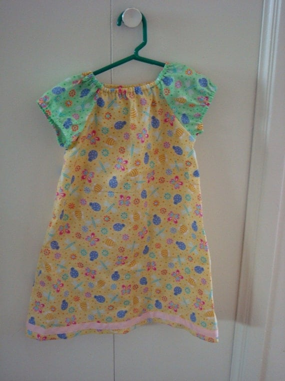 toddler girl's peasant dress cute bugs size 2T