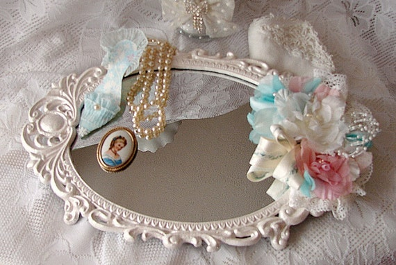 Mother of Pearl Victorian Vanity Tray with Pink Aqua and White Vintage Millinery