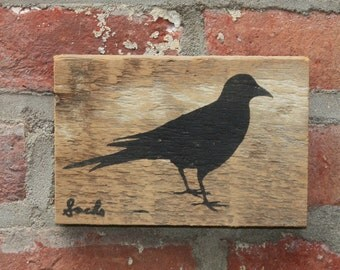 Crow Wall Hanging on Reclaimed Barn Wood (More Colors)