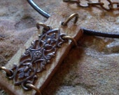 Leather and Lace Brass Filigree Necklace