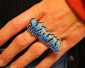 Graffiti Custom Two Finger Nameplate Ring by beebles
