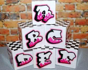 Graffiti ABC Blocks Pink Flame BW Checker Rockin' Blocks Unique Baby Gift Alphabet Blocks