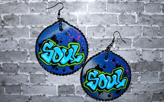 Graffiti Hip Hop SOUL Earrings Wood w/ Metal Chain by beebles