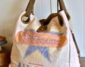 All Star Hybrid Seed, Iowa, Missouri -Vintage Seed Sack Open Tote - Americana OOAK Canvas & Leather Tote