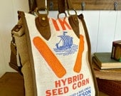 Viking Hybrid Seed Corn - Buffalo Center, Iowa-  Vintage Seed Sack Shopper Tote - Americana OOAK Canvas & Leather Tote