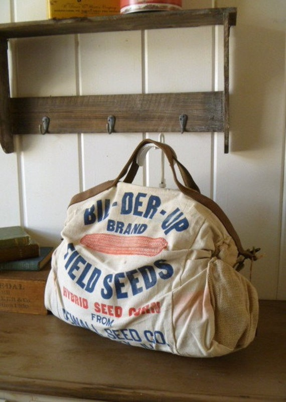 Bil-Der-Up Brand, Gibson City, Illinois- Vintage Seed Feed Sack Messenger Bag- Americana OOAK Canvas & Leather Tote