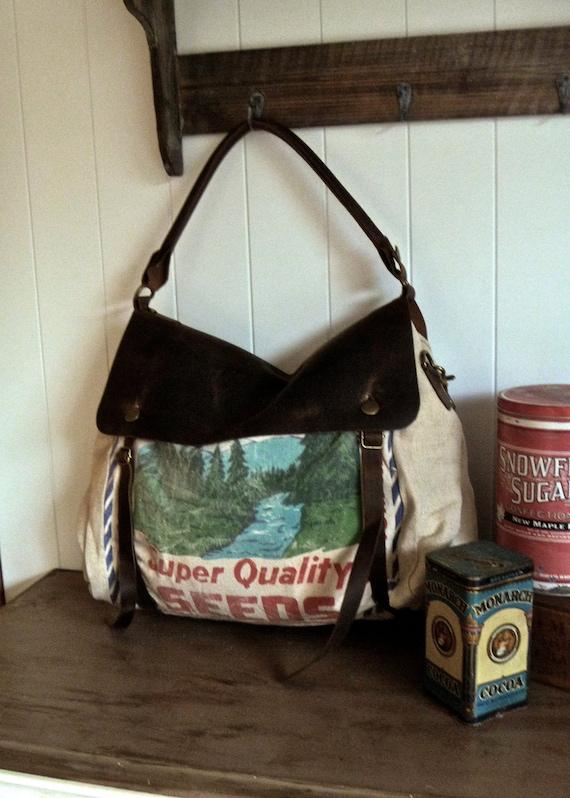 Supreme Seeds- Lynnville, Iowa- Vintage Seed Sack Satchel Bag - Americana OOAK Canvas and Leather Handbag