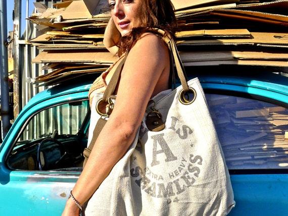 Bemis A Seamless  -Vintage Seed Sack Open Tote - Americana OOAK Canvas & Leather Tote ... Selina Vaughan Studios