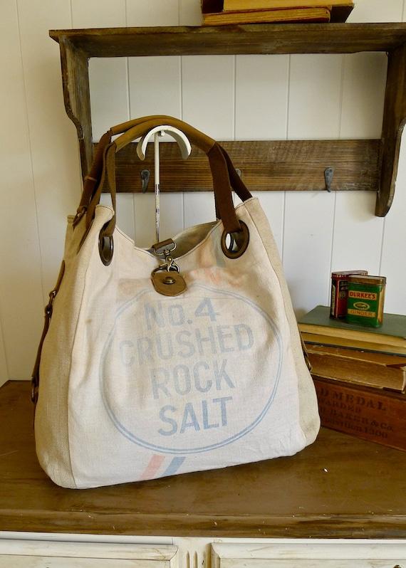 no 4 crushed rock salt akron ohio vintage seed sack open