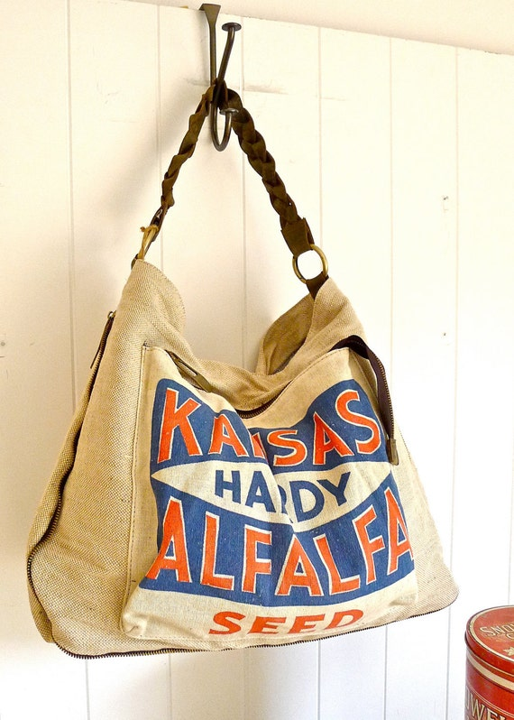 Kansas Hardy Alfalfa- Heart of America - Vintage Seed Sack Hobo Zipper Tote - Americana OOAK Canvas & Leather Tote... Selina Vaughan Studios