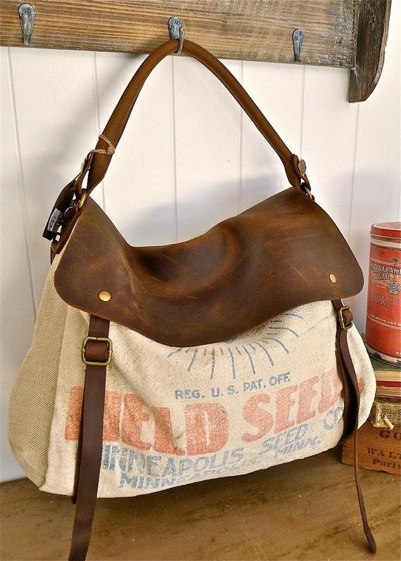 Field Seeds- Minneapolis, Minnesota - Vintage Seed Sack Satchel Bag - Americana OOAK Canvas and Leather Handbag- Selina Vaughan