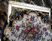 Vintage Black Tapestry Handbag