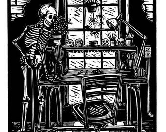 Model by the window day of the dead linocut print