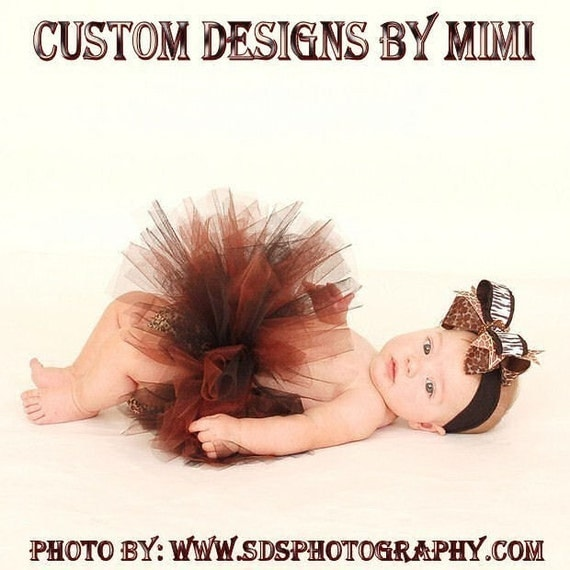 Wild Child Animal Print Posh Pouf  by Custom Designs by Mimi Tulle Tutu size 0 - 12 months  or 12-24 months featuring matching bow