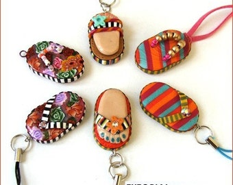 Polymer clay tutorial millefiori beads, polymer clay earrings, key charms | Flip-Flops beads, Beach Ball, Popsicle Charm Bracelet | Vol 13