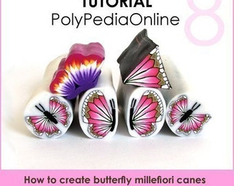 Polymer clay tutorial, Polymer clay BUTTERFLY millefiori canes tutorials, How to polymer clay canes, Millefiore |  39 pages PDF | Vol 8