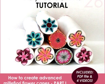 Polymer clay tutorial, Polymer clay FLOWER millefiori canes tutorials, How to polymer clay canes |  4 VIDEOS, 63 pages PDF | Vol 26