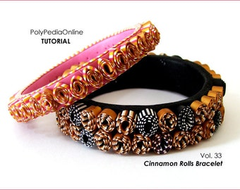 Polymer clay tutorial, Polymer clay weaving, CINNAMON bracelet tutorial, cuff tutorial, Fimo, DIY | 13 pages PDF, 15 minutes video | Vol 33