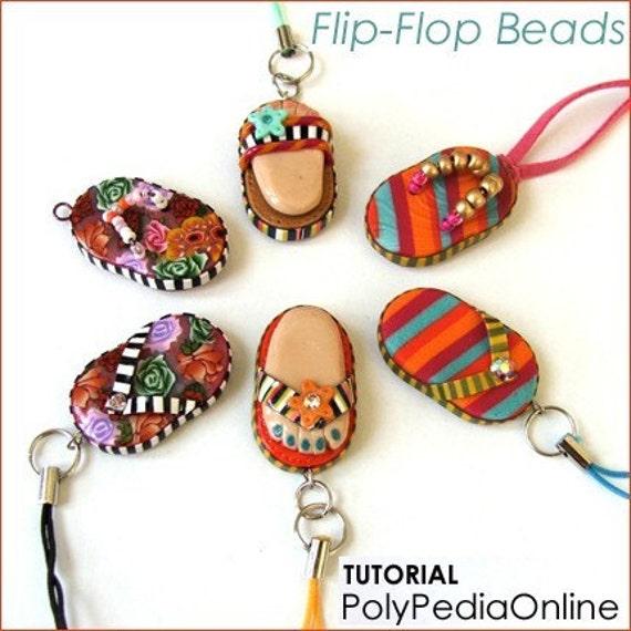Polymer Clay Beads Tutorials - Flip-Flops, Beach Ball Beads, Popsicle Charm Bracelet - PolyPedia E-Book Vol 13 SUMMER TRIO - by Iris Mishly