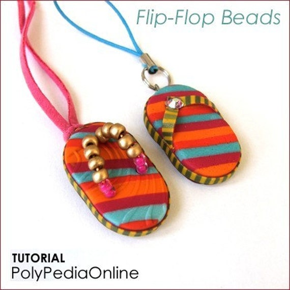 Polymer Clay Beads Tutorials - Flip-Flops, Beach Ball Beads, Popsicle Charm Bracelet - PolyPedia E-Book Vol 13 SUMMER TRIO - by Iris Mishly