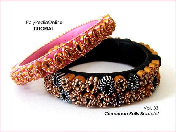 "Polymer Clay Bracelet Tutorial - ""Cinnamon Rolls"" Bracelet - 13 pages PDF, 15 minutes video - PolyPedia E-Book Vol 33 - by Iris Mishly"