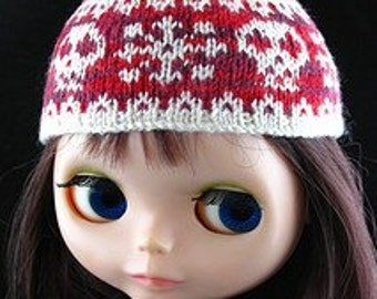 Handknit Skulls and Snowflakes Beanie for Blythe