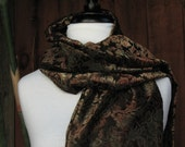 Chocolate Brown and Olive Green Burnout Velvet Scarf with Beaded Fringe