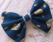 HAIR BOW - Mad Hatter tea party - 100% cotton - with alligator clip