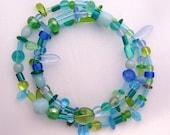 Blue Green Fusion Memory Wire Bracelet S-B0010