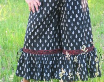Wide Leg Pants, Culottes, Bloomers, Black ad White, Indian Print,  to16/18