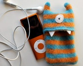 Blue and Orange Stripey Monster iPod Nano or Shuffle Cozy
