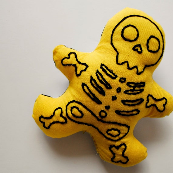 Yellow Skelly Man Plush