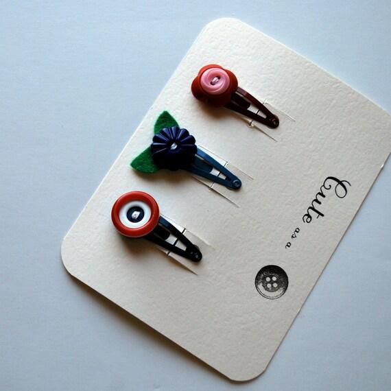 Cute as  Button Barrette Set--Vintage Button Barrettes for a Small Child