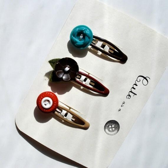Cute as  Button Barrette Set--Vintage Button Barrettes