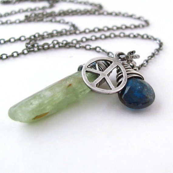 Kyanite Necklace Peace Charm Green Blade Blue Teardrop Oxidized Sterling Silver Christmas In July