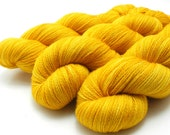Yellow Gold lace yarn -- hand dyed yarn, hand painted lace yarn