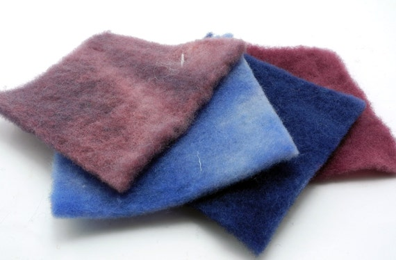 "Pre-Felt 3"" Sample Pack Hand Dyed Merino Wool PreFelt"